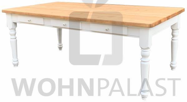 Landhaustisch Ruhpolding aus Massivholz - mit drei Schubladen - weiß / natur geölt