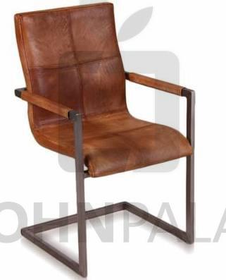 Freischwinger Stuhl Manchester - Echt Leder - cognac
