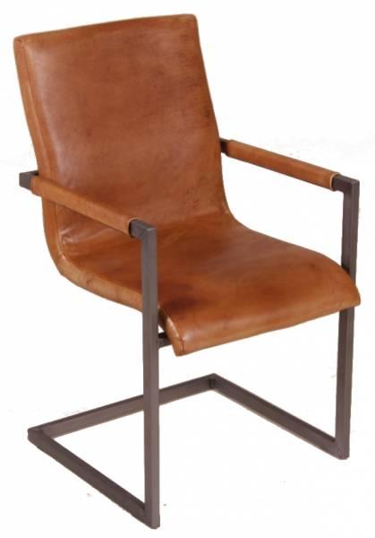 Freischwinger Stuhl - Blackpool - Echt Leder cognac
