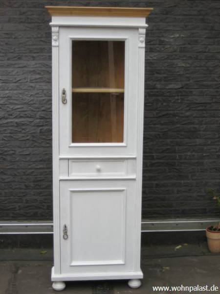 eckvitrine vintage shabby chic weichholz honig wei kiefer. Black Bedroom Furniture Sets. Home Design Ideas