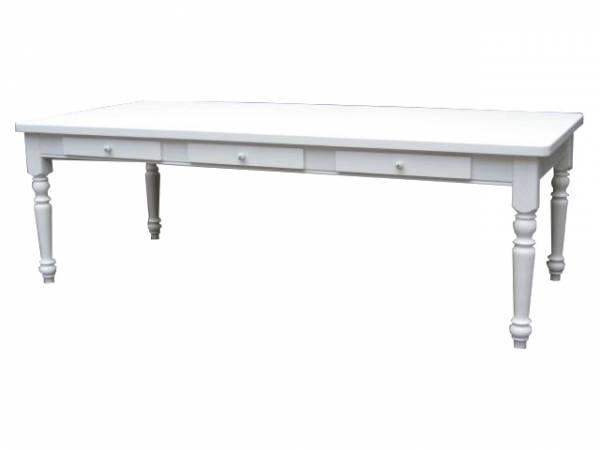 Landhaus Tisch Massivholz - mit drei Schubladen