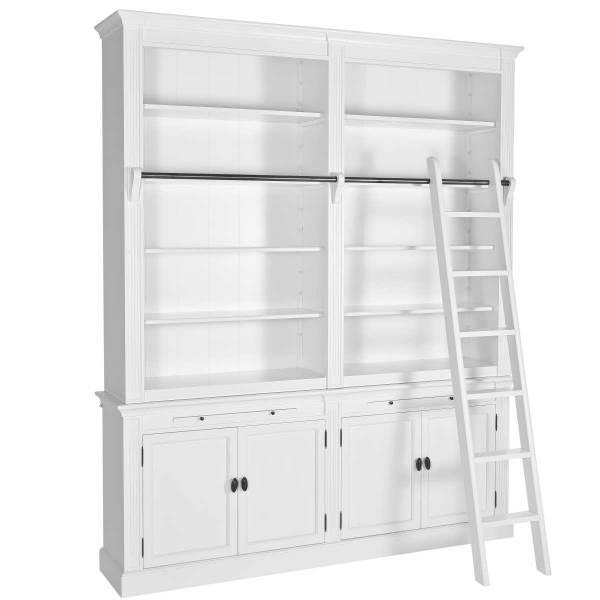 Bücherwand 200 weiß - Landhaus Stil