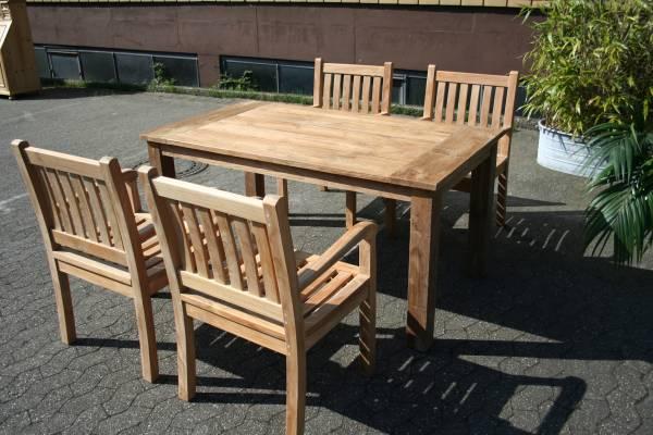 Gartenmöbel Set aus massivem Holz - Tisch, Stuhl, Bank aus Teakholz