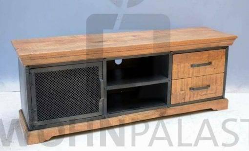 TV-Lowboard Industrial 1D aus Mangoholz/Eisen