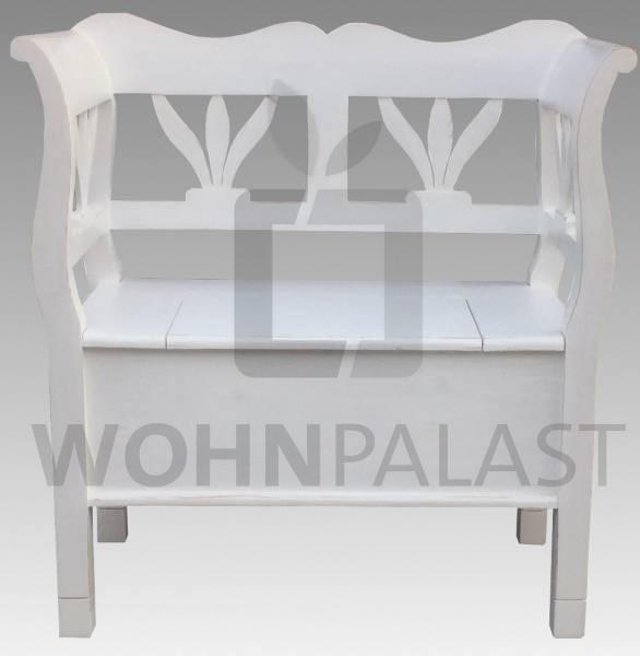 Truhenbank Tulpe 80 cm weiß shabby chic