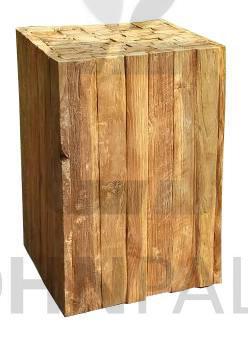 Hocker Cube aus massivem Teakholz