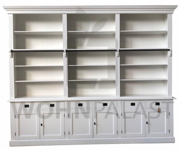 Bücherwand Lessing - Wohnwand weiß 300cm Bücherregal Bibliothek