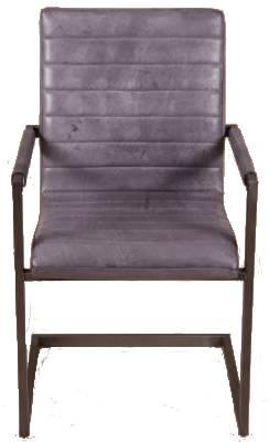 Freischwinger Stuhl Warton - Echt Leder - grau
