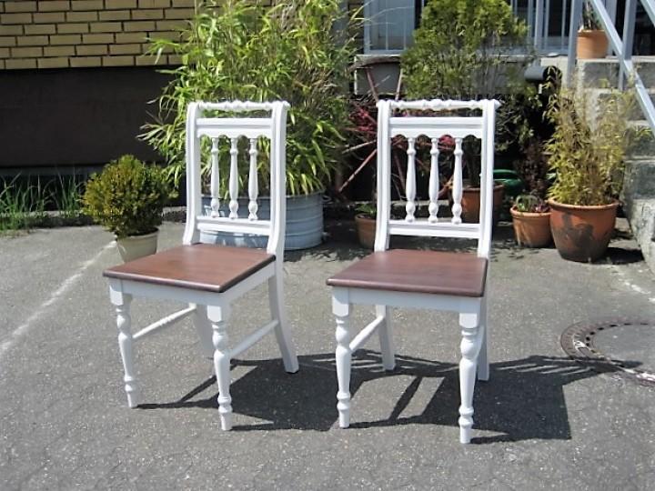 Set 2x Esszimmer Stuhl Im Landhausstil Weiß/braun Möbel ... Esszimmer Landhausstil Braun