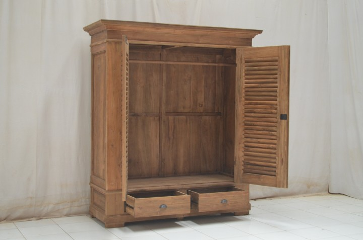 teak schrank riva louvre mit lamellent ren vintagem bel wohnpalast m bel. Black Bedroom Furniture Sets. Home Design Ideas