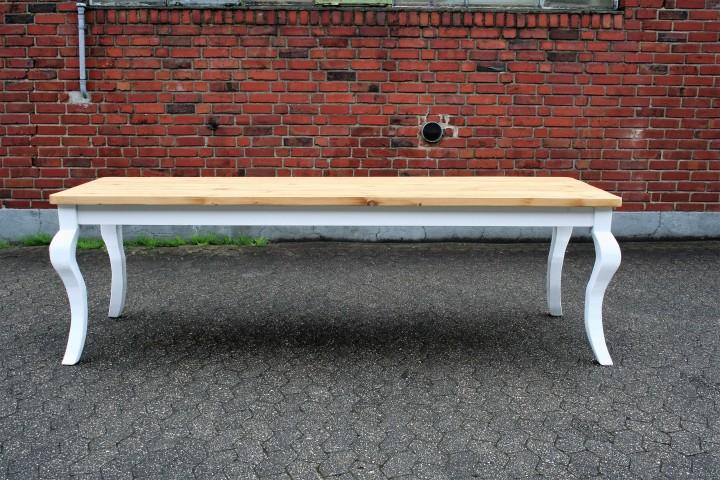 Gründerzeit Tisch Massivholz  natur weiß geschwungene
