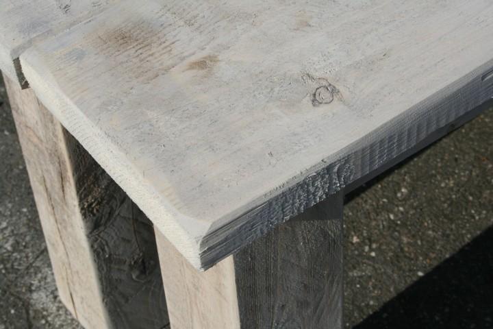 Polyrattan Gartenmobel Discount : Gartenmöbel Set aus Gerüst Bohlen  Tisch 180 und Bank 150 Shabby [R