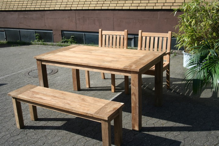 gartenmöbel set aus massivem holz - tisch, stuhl, bank aus teakholz,