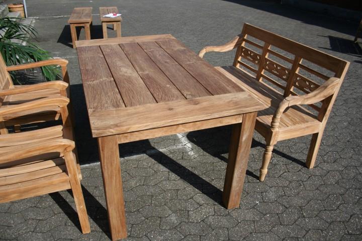 gartenm bel set aus massivem holz tisch stuhl bank aus teakholz. Black Bedroom Furniture Sets. Home Design Ideas