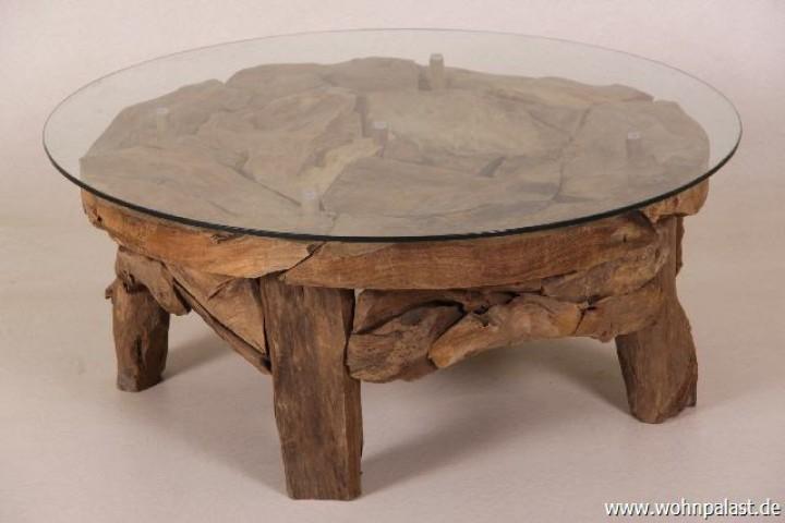 wurzelholz couchtisch beistelltisch ikal aus massivholz inklusive glasplatte 80 cm tisch in. Black Bedroom Furniture Sets. Home Design Ideas