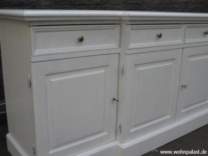 sideboard 215 cm in shabby chic wei landhausm bel. Black Bedroom Furniture Sets. Home Design Ideas