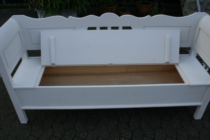 Biedermeier Truhenbank weiß 185 cm Möbel -  Wohnpalast Möbel